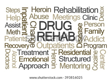Drug Rehab Word Cloud on White Background