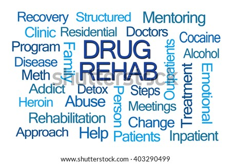 Drug Rehab Word Cloud on White Background - stock photo