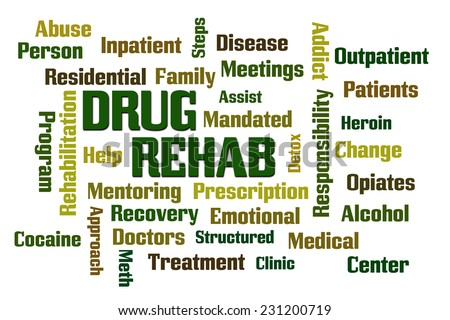 Drug Rehab word cloud with White Background - stock photo
