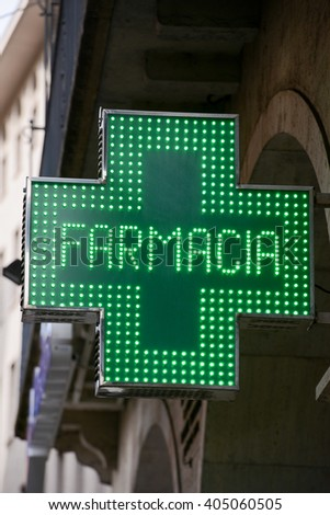 Drug store symbol (Green cross) - stock photo