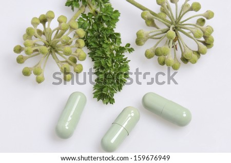 drugs and medicines with natural plant extracts, homeopathic and naturopathic - stock photo