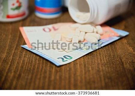 drugs and money - stock photo