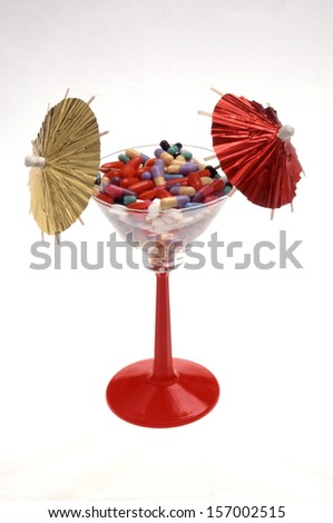 Drugs cocktail of prescription pills and tablets - stock photo