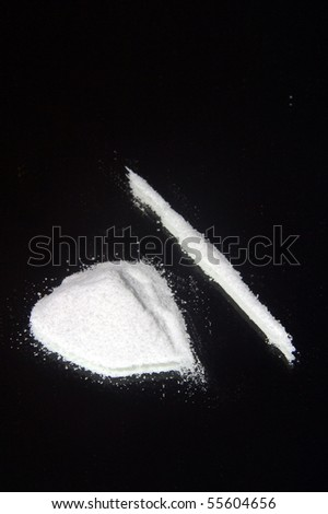 Drugs on mirror - stock photo