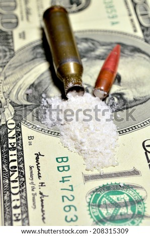drugs on the banknote - stock photo