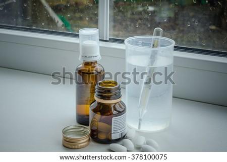 drugs on the window - stock photo