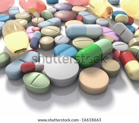 Drugs / Supplement. Spilled pills of drug or alimentary supplement. Concept of Health and Disease. - stock photo