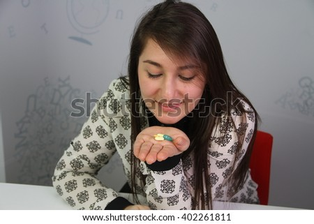 drugs that are in the hands of women - stock photo