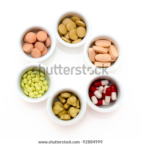Drugs: vitamins, pills and tablets - stock photo