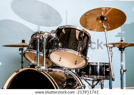Drum and bass set in closeup - stock photo