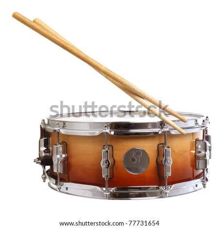 Drum and drumsticks isolated on white - stock photo