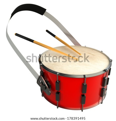drum and sticks. isolated white background. 3d