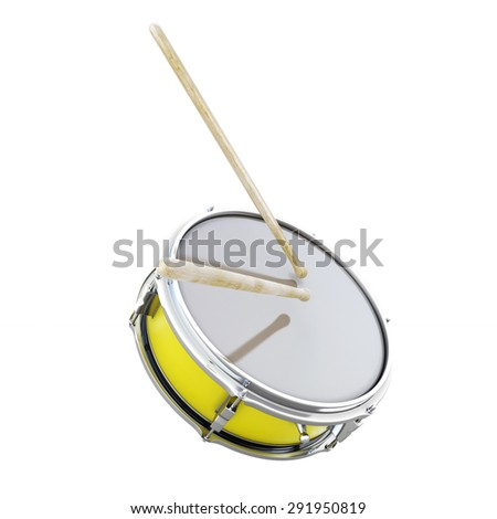 Drum close-up clipping path. 3d render image. - stock photo