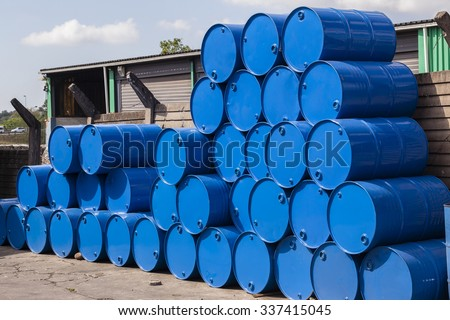 Drum Containers Stacked Steel forty five gallon blue drum containers stacked