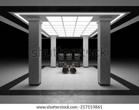 Drum kit and guitar amps in abstract room - stock photo