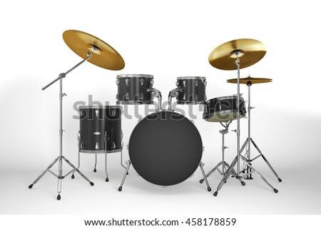 Drum kit isolated.3D illustration