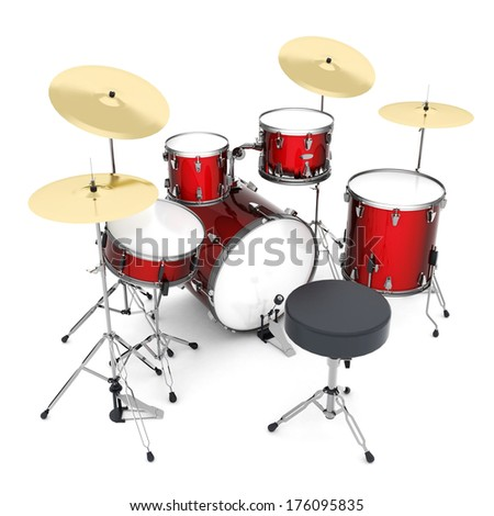Drum kit isolated on white background - stock photo