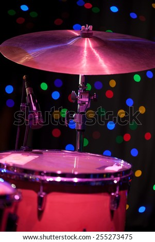 Drum Kit on the stage, shallow depth of field - stock photo