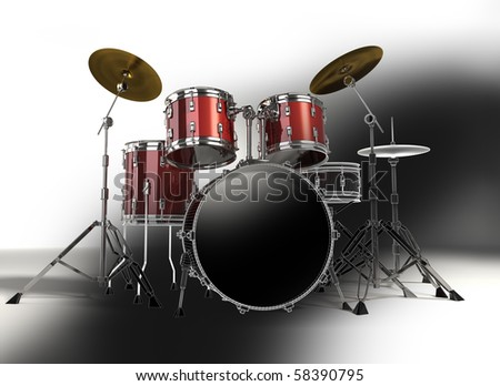 Drum kit with 3D wireframe - stock photo