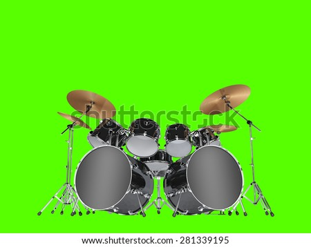 Drum kit with two bass drums. Isolated on green - stock photo