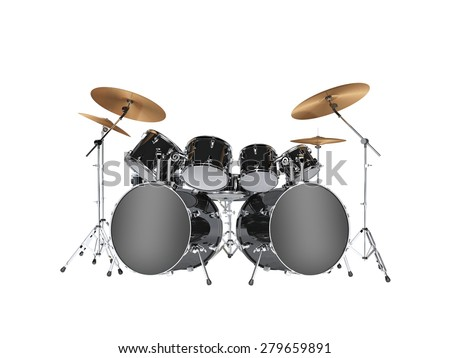 Drum kit with two bass drums. Isolated on white - stock photo