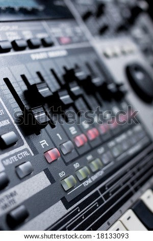drum machine with build-in mixer - stock photo