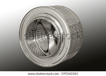 Drum of an automatic washing machine. isolated on gray background.