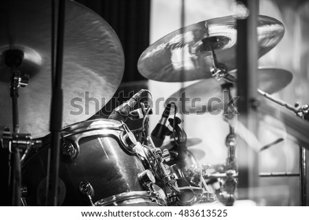 Drum set, black and white rock music background