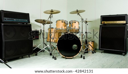 Drum set in studio