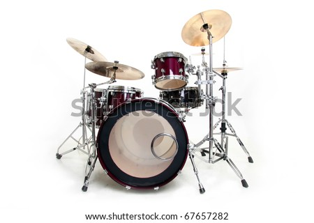 Drum Set Isolated in Black and White - stock photo