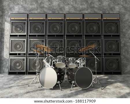 Drum set on a background of a wall of guitar amps - stock photo