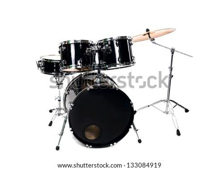 drum set on white - studio shot close up - stock photo