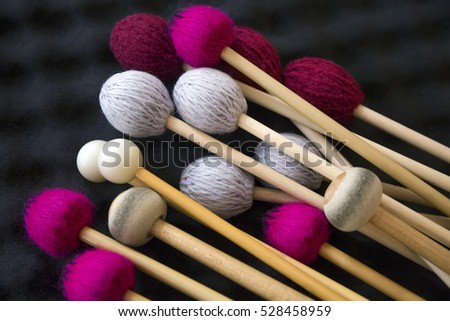 drum sticks for drums, musical instrument on black background