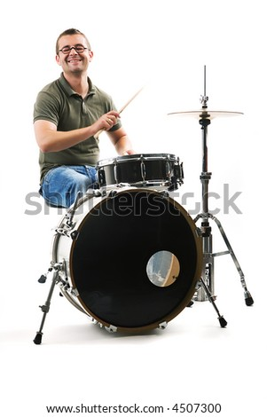 Drummer drifting away at the rhythm - stock photo