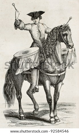 Drummer on horseback old illustration. By unidentified author, published on Magasin Pittoresque, Paris, 1845 - stock photo