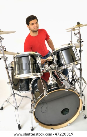 drummer playing - stock photo