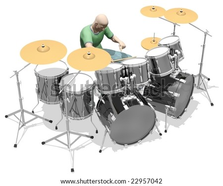 Drummer playing a fill drum set isolated on white - stock photo