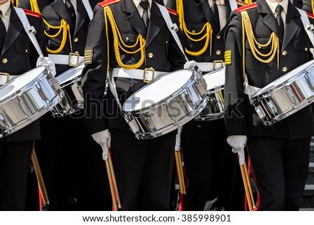 drummers of army orchestra at the festival of military brass bands - stock photo