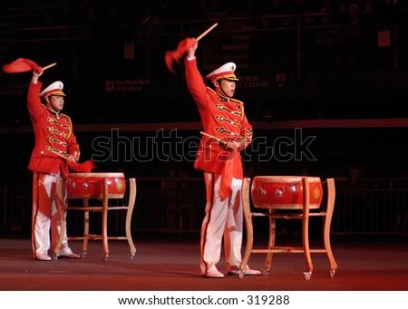 Drummers of the Chinese Army, Edinburgh Military Tattoo, Scotland - stock photo