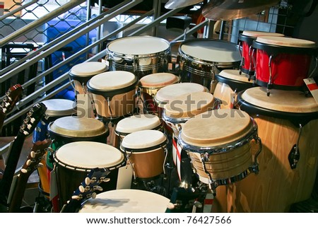 drums and guitar - stock photo