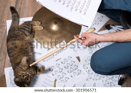 Drums conceptual image. Picture of man with stick and music notes. Background - cymbals, notes and cat - stock photo