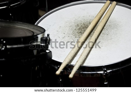 Drums conceptual image. Snare drum and stick. - stock photo