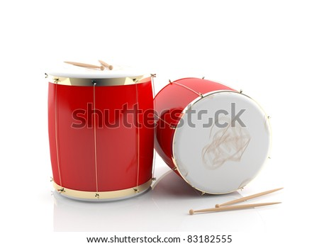 Drums. 3d instrument isolated on white background - stock photo