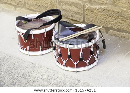 Drums music band, detail of a percussion instrument, music on the street, street art - stock photo