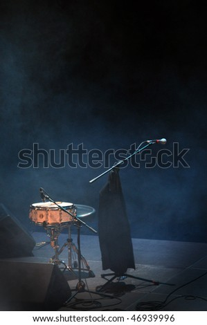 Drums on an empty stage