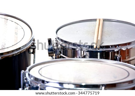 Drums over isolated white background. Music conceptual image. Snare toms and cymbals. - stock photo