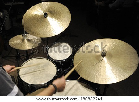 Drums set in night club - stock photo
