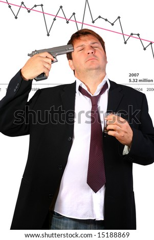 Drunk businessman committing suicide due to the stock exchange crash (conceptual) - stock photo