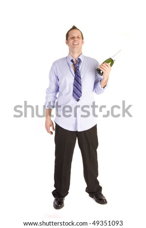 Drunk businessman holding bottle on a white background. - stock photo