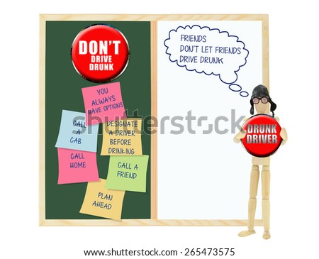 Drunk Driver: Friends don't let friends drive drunk thought bubble: Don't Drive drunk chalk board whiteboard post it notes  (you always have options, call home, call friend, call a cab) - stock photo